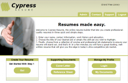 Screenshot of Cypress Resume Builder